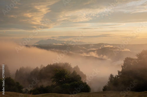 Wall Murals Cappuccino Sunset in beautiful Polish mountains and colorful sky_1