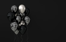 Illustration Of Glossy Silver, Black And Jaguar Print Balloons On Black Background. Empty Space For Birthday, Party, Promotion Social Media Banners, Posters. 3d Render Realistic Balloons