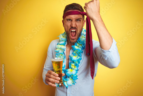 Hangover business man drunk and crazy for hangover wearing tie on head drinking Tableau sur Toile