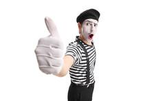 Pantomime Man Showing Thumb Up