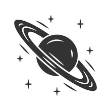 Saturn Glyph Icon. Planet With...