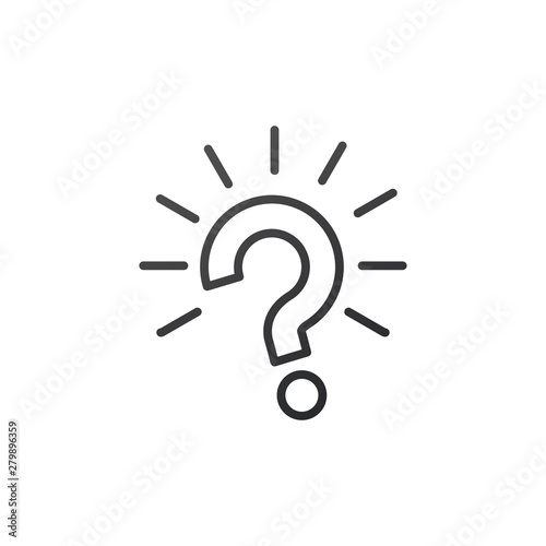 Fotografija Outline question mark with rays burst icon vector illustration on white backgrou