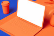 Orange laptop with white blank screen isolated on orange and blue background. 3d rendering.