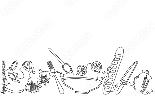 Cooking. Continuous line Drawing Pattern. Background with Utensils and Food.Vector illustration.