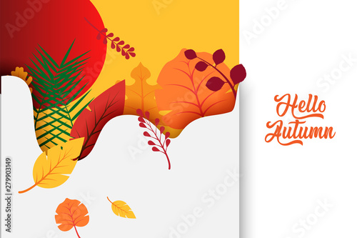 Obraz Hello Autumn text poster of September leaf fall or autumnal foliage of maple, oak acorn and elm for shopping sale design or promo poster and leaflet or web banner - fototapety do salonu