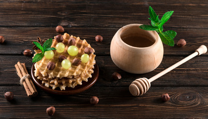 waffles with honey and nuts...