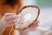Dream Catcher Creation In Art Studio. Young Woman Making Decoration Accessory For Bedroom, Closeup Photo. Workshop, Hobby, Handicraft, Creativity Concept