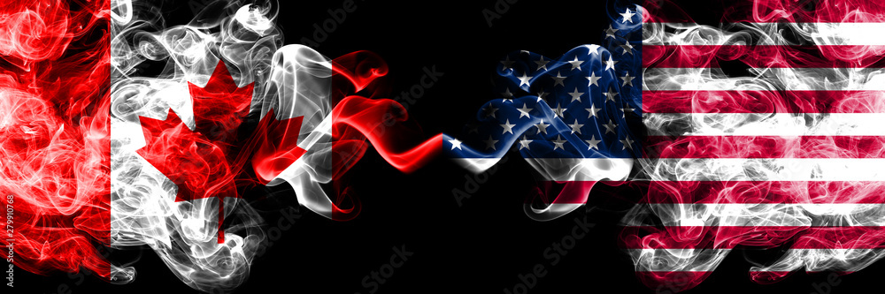 Fototapety, obrazy: Canada vs United States of America, American smoky mystic flags placed side by side. Thick colored silky smoke flags of Canadian and United States of America, American.