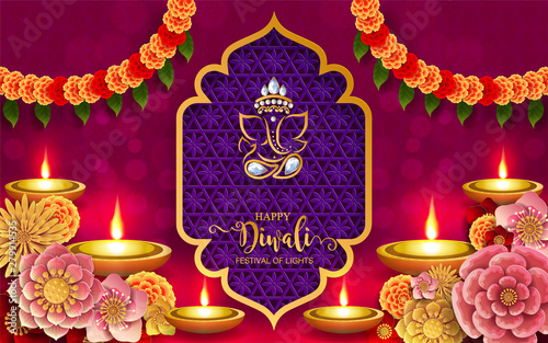 Photo  Diwali, Deepavali or Dipavali the festival of lights india with gold diya patterned and crystals on paper color Background