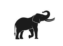 Elephant Silhouette Side View. Isolated Vector Image Of Wild Animal