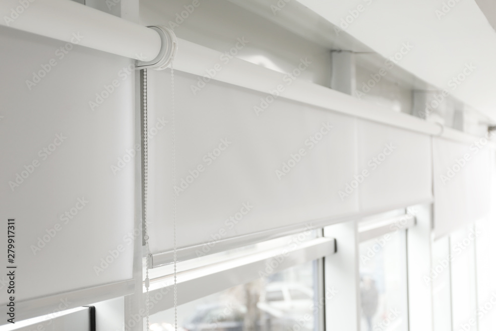 Fototapety, obrazy: Modern window with white roller blinds indoors
