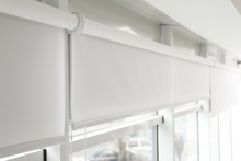 Modern Window With White Rolle...