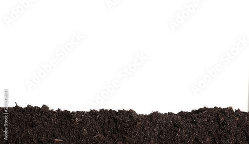 Foto Layer of fresh soil isolated on white. Gardening time