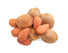 Organic Dried Apricot Kernels On White Background, Top View