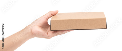 Obraz na plátně hand holding brown paper box package isolated on white background