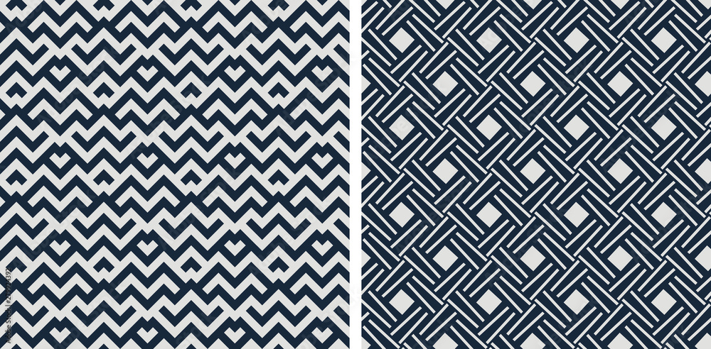 Set of seamless patterns. Abstract geometric background vector illustration
