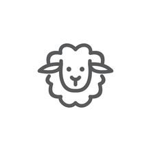 Sheep Face Line Logo Icon Vector Template