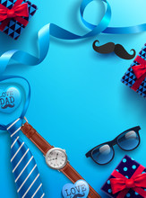 Happy Father's Day Background With Necktie,glasses,watch And Gift Box For Dad.Promotion And Shopping Template For Father's Day.Vector Illustration EPS10