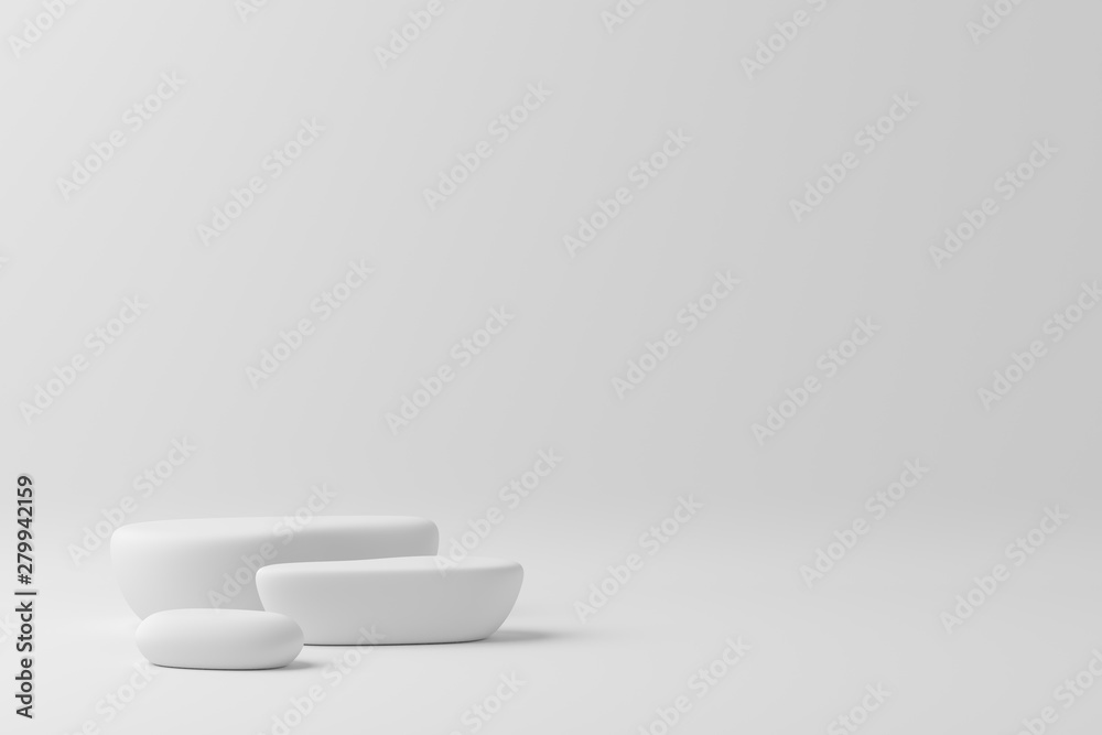 Fototapety, obrazy: 3d render abstract mock up scene. white podium and white background for product.