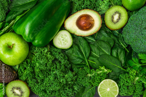 fototapeta na drzwi i meble Selection of healthy green food fresh vegetables and fruit. Concept of green color, clean eating, vegetarian and vegan food and cuisine, lifestyle, diet, and fitness