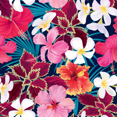 Seamless tropical pattern of hibiscus flowers with plumeria and palm leaf background. Vector set of exotic tropical garden for holiday invitation, greeting card and textile fashion design.