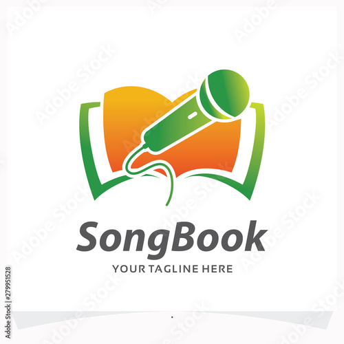 Photo  Song Book Logo Design Template
