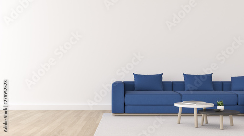 Surprising View Of White Living Room In Minimal Style With Deep Blue Machost Co Dining Chair Design Ideas Machostcouk