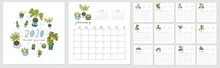 Calendar 2020. Cute And Creative Calendar With Hand Drawn House Plants, Succulents And Cactus. In Blue And Green Colors. Redy To Print. Vector Illustrations