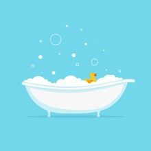 Foam Bath With Yellow Duck And...