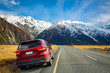 Panoramic mountain views With red cars that mount cook, New zealand