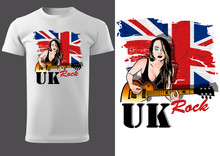 T-shirt Design With Guitarist Girl In Front Of UK Flag - Graphic Illustration With Musical Theme, Vector