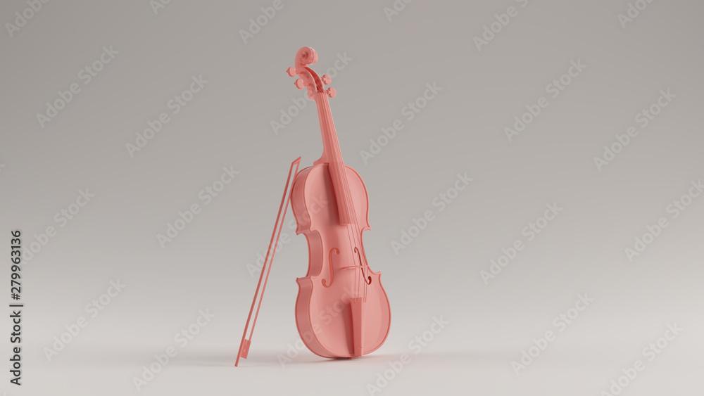 Fototapeta Pink Violin and Bow 3d illustration 3d render