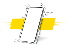 Smartphone Frameless Blank Screen, Rotated Position. 3d Isometric Illustration Cell Phone. Smartphone Perspective View. Template For Infographics, Presentation  Business Card, Flyer, Brochure, Poster