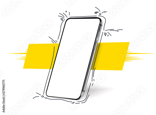 Obraz Smartphone frameless blank screen, rotated position. 3d isometric illustration cell phone. Smartphone perspective view. Template for infographics, presentation  business card, flyer, brochure, poster - fototapety do salonu