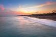Beautiful beach scenery on Turkish Riviera at sunset, Side