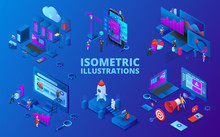 Set Of Isometric Illustrations. Startup, Digital Marketing, Seo Analysis And Cloud Technology. Dark Blue Background.