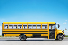 School Bus Parked On The Road, Concept Of Going Back To School, Beautiful Sunny Day, 3d Rendering