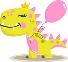 Cute Baby Girl Dinosaur With Balloon