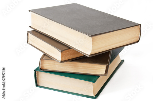 Cuadros en Lienzo Book pile isolated on white background