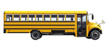School Bus Isolated On White B...
