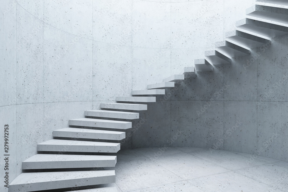 Fototapety, obrazy: modern staircase in concrete interior, 3d rendering