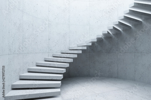 modern staircase in concrete interior, 3d rendering Wallpaper Mural