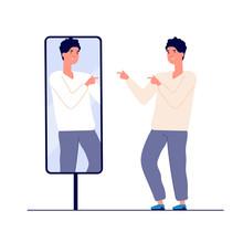 Man At Mirror. Guy Self Lookin...