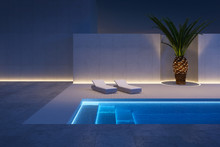 A Luxury Modern Backyard With A Swimming Pool