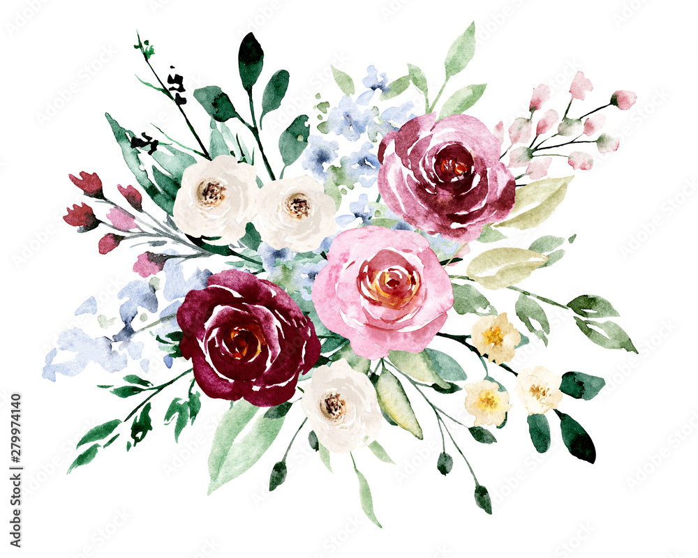 Fototapety, obrazy: Watercolor flowers, pink, white roses. Floral summer bouquet for printing invitations, greeting cards, wall art, stickers and other. Isolated on white. Hand painted.