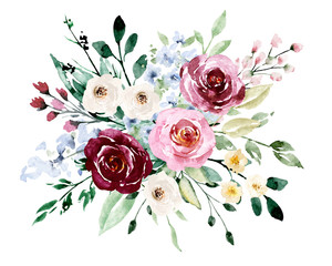 Watercolor flowers, pink, white roses. Floral summer bouquet for printing invitations, greeting cards, wall art, stickers and other. Isolated on white. Hand painted.
