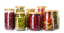 Jars With Different Canned Veg...