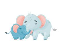 Two Elephants. Vector Illustra...