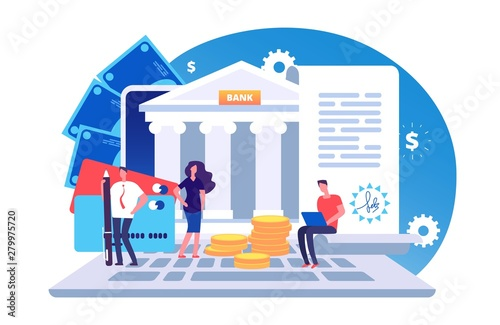 Fototapeta Online bank agreement. Loan contract, online bill payment vector concept with tiny people, bank building, credit card and money. Illustration of e-banking payment, online banking obraz