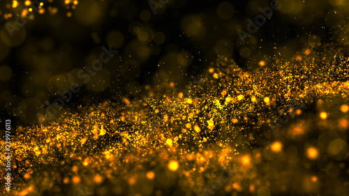 Digital abstract gold color wave particles flow and dust, Cyberspace background concept.